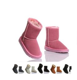Wholesale Short Suede Flat Boots - 2017 XMAS GIFT Classic short Child snow boots girl boy winter kids boots cowhide winter boots EU size: 25-34