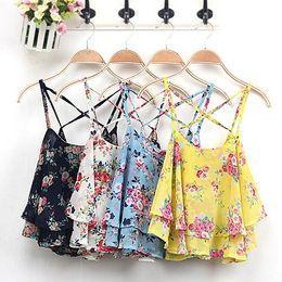 Wholesale Spaghetti Strap Shirts Wholesale - Wholesale- Women's Summer Spaghetti Strap Flower Print Chiffon Shirt Vest Blouses Crop Top 6RR4