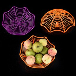 Wholesale Plated Basket - Three Colors Fruit Plate Plastic Halloween Spider Web Shape Fruits Basket Eco Friendly Candy Food Baskets For Bar Decor 3 8lx B R