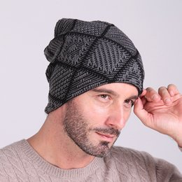 Wholesale Skull Beanie Knitting Pattern - free shipping Checked diamond Lattice pattern Autumn and Winter Knit Cap With velvet Woolen hat Winter men and women skiing Warm hats
