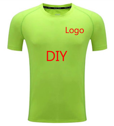 Wholesale Yellow Green Clothes - 2017 Short Sleeve men Custom Logo Team customization Men's Sport Running Shirt Quick Dry TShirt Men Gym Clothing Sportswear