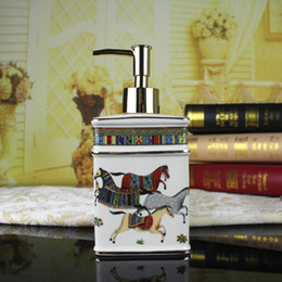 Wholesale Horse Bathroom - Ceramic soap dispenser ivory porcelain god horse design hand liquid soap dispensers liquid soap dispenser bathroom lotion bottle