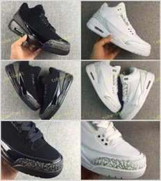 Wholesale Cheap Winter Cats - Super Quality Retro 3 III Black White Cat Grey Elephant print Basketball shoes men 2017 Cheap College Grey 3s OKC Home Sneakers 7-12