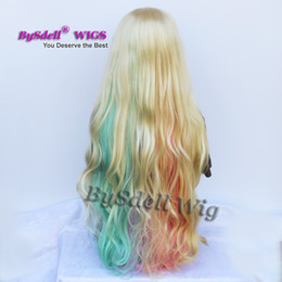 Wholesale Long Curls Wig - Hot Sexy Pastel Rainbow Color Hair Wig Synthetic extremely Long 28inch long Loose Curl Hair Wig Blonde Pink green blue colorful Hair Wigs