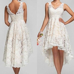 Wholesale Sexy Hi Lo Wedding Dress - Country Garden Hi Lo Wedding Dresses Full Lace A Line Wedding Gowns Online Cheap V Neck Low Back Summer Bridal Dresses 2017