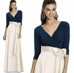 Wholesale Black Mikado Dress - Navy Blue White Long Bridesmaid Dresses Spring 2017 Full length 3 4 sleeve Formal Dresses For Weddings Deep V Back Full mikado skirt