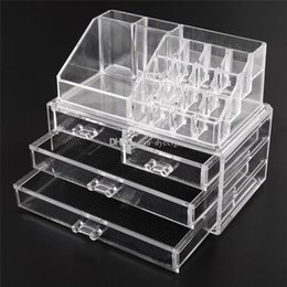 Wholesale Clear Organizer Drawers - Acrylic Cosmetic Makeup Organizer Jewelry Display Boxes Bathroom Storage Case 2 Pieces Set W  4 Large Drawers