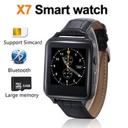 Wholesale Gps Speed Tracker - X7 Smart watch G-sensor Speaker Bluetooth Mobile phone Smart watches dial Synchronous push Leather strap phonebook High speed CPU DZ09 A1DHL