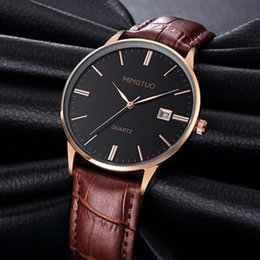 Wholesale Watchs Women - Men's Ultra thin Waterproof Watch Brown Tachymeter Date Leather Casual Wrist Watch Luxury Business Quartz Watchs Women Dress Wristwatches