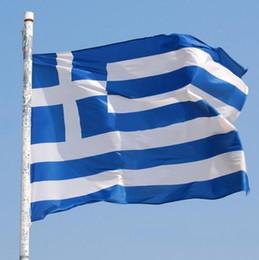 Wholesale Mini Banners - 90*150cm Greece National Flag Cross Blue White Stripe Greek Outdoor Flags Mini Banner Decorative Oriflamme Flag CCA6372 150pcs