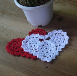Wholesale Doily Hearts - Wholesale- Valentine's Day gift Crocheted Doilies Cup Mat table cloth Heart-shaped Wedding decorations 20PCS LOT