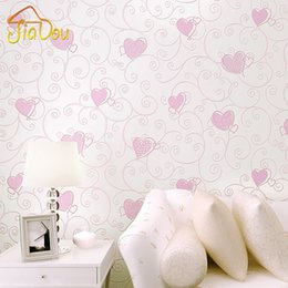 Wholesale Proof Love - Wholesale-3D Pink Love Heart Cartoon Princess Girl Room Background Wallpaper Roll 3D Embossed Flocking Non Woven Kids Wall Covering Paper