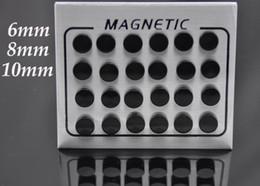 Wholesale Ear Piercing Studs Steel - 12pairs lot 6 8 10mm Black Magnet Circle Round Stud Earring Stainless Steel Magnetic Ear Studs No Piercing Men Jewelry Wholesale