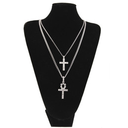 white gold cross necklace set Coupons - Egyptian Ankh With Cross Pendant Necklace Set Rhinestone Crystal Key To Life Egypt Cross Necklaces Hip Hop Jewelry Set