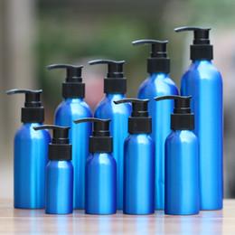Wholesale Lotion Jar Pumps Wholesale - Wholesale- 1-2pcs 30-500ml blue Aluminum empty Lotion Bottle plastic Black emulsion pressure pump cosmetic jar Sample subpackage travel