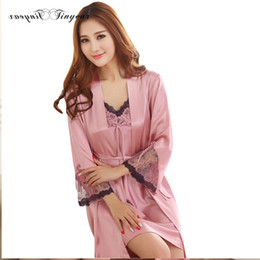 Wholesale Batik Robes - Wholesale- 2016 Very hot women gown robe sets breathable natural color silk robe full sleeve conjuntos de pijamas para mujeres with bow