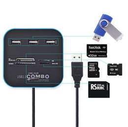 Wholesale Factory Hub - DHL Free shipping Factory direct multi-purpose COMBO multi-function USB2.0 card reader hub with HUB splitter SD