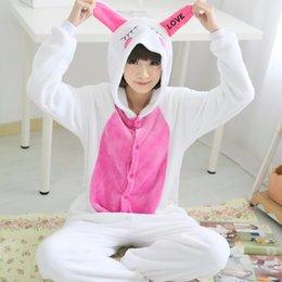 Wholesale Rabbit Onesie Adult - 2017 Unisex Adult Cut Love rabbit Pajamas Sets Cosplay Costume Cartoon Animal Sleepwear Winter Autumn Onesie For Women Men Girls