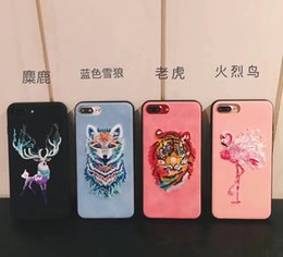Wholesale Embroidery Cases Iphone - Flamingo Embroidery Cover Case for iPhone 7 7plus Case Luxury Capa For iPhone 6 6s 6plus 6splus Fashion Mutural Embroidery Cases
