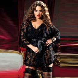 Wholesale Hot Girl Nightwear - Wholesale- Plus size black lace nightwear robes half sleeve deep V sexy big size belted nighty extra size hot girls sleepwear nightgown