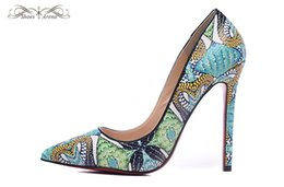 Wholesale Snake Print Dresses - WBP979A Size 34-42 Women 12cm High Heels Green Snake Print Leather Pointed Toe New Pumps,Ladies Luxury Brand Wedding Party Party Dress Shoes