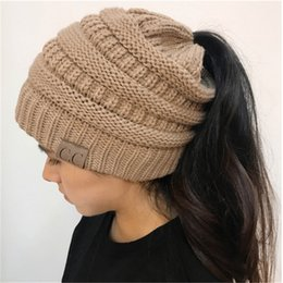 Wholesale Crochet Hats Wholesale For Women - CC Ponytail Beanies knitted Winter Caps with Pony tail Hole Knit Crochet Skull Beanies outdoor sports headgear for women big girls