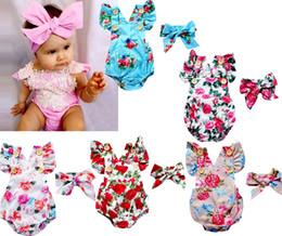 animal raposa cinza Desconto Infantil bebê meninas macacão floral conjunto Bodysuit com tiaras Ruffles manga 2 pcs conjunto botões verão Ins briefs 0-2years