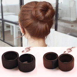Wholesale Bun Coffee - DIY Styling Donut Former Hair Ties Girl Hair Foam Hair Bows French Twist Magic Tools Bun Maker Black Brown Coffee 3006017