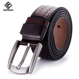 Wholesale Leather Cowhide Strap Wholesale - Wholesale- [KAITESICZI] 2017 belt men genuine leather luxury strap male belts for men buckle fancy vintage jeans 100% cowhide belts