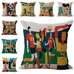Wholesale Football Gods - Abstract Persons Beach Football God Loveers Pillow Case Cushion cover Linen Cotton Throw Pillowcases sofa Pillowcover free shipping