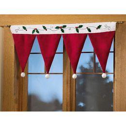 Wholesale Hats For Decoration - Santa Claus Hat Cap Valances for Home Decor Door Window Drape Panel Christmas Decorative Curtain Xmas Festival Indoor Decoration