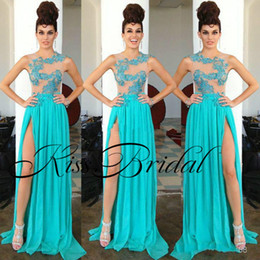 Wholesale Cheap Turquoise Dress Straps - Turquoise 2018 Sexy Prom Dresses Split Side Lace Illusion Formal Evening Gowns Chiffon 2017 Cheap Party Dress