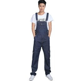 Wholesale Denim Overalls For Boys - Wholesale-Men's fashion pocket denim overalls for boys Male casual loose jumpsuits Plus large size jeans Bib pants Free shipping