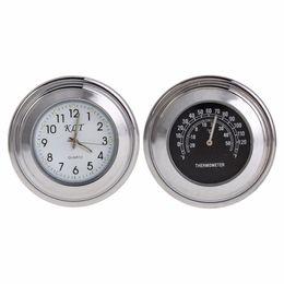 Wholesale Bike Tachometer - 7 8'' 1'' Motorcycle Bike Handlebar Mount Dial Clock+Thermometer Temperature Gauge Meter Waterproof for Harley Davidson Moto