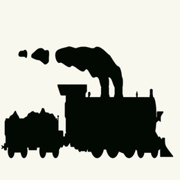 Wholesale Engine Decals - Wholesale 10pcs lot Train Railroad Engine Steam Coal Trains Happy Car Sticker for Window Bumper Laptop Car Decor Waterproof Vinyl Decal