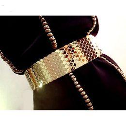 Wholesale Metal Elastic Waist Belt - Wholesale- Europe fashion Quality Wide Elastic Scale Metallic Belts For Women Ladies Dress Metal Belt Straps Waist Belt