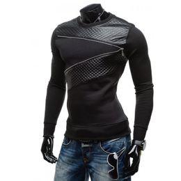 Wholesale Plus Size Leather Hoodie - Wholesale-Plus Size Leather Patchwork Hoodies Men Zipper Decoration Long Sleeve Sweatshirt Tops Men's Leisure Hoodie Clothes YA355