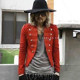 Wholesale Mens Short Standing Collar Jacket - Fashion Harajuku Motorcycle Slim Fit Men Blazer Jacket Punk Rock Biker Red Blue Mens Blazer coats suits