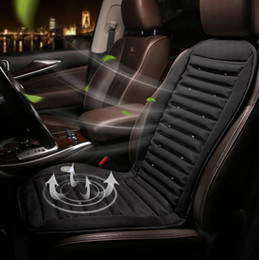 Wholesale Cool Designs Cushion - 12V 24V Cool Fan Car Seat Covers Universal Fit SUV sedans Chair Pad Cushion with Motor driving summer ventilation gray black strip design