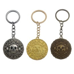 Wholesale Special Coins - Hot Movie Pirates Of The Caribbean Jewelry Skull Coin Pendant Keychain Key Rings Holder Carved Special Symbols Keychains Chaveiro
