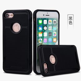 Wholesale Hybrid Cell Phone Cases Wholesale - For Apple iPhone 7 7 Plus Case 2 in 1 Shockproof Armor Hard Frame TPU Gel Hybrid Kickstand cell phone Cover Cases