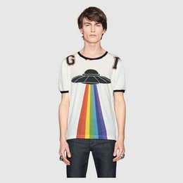 Wholesale Stripe Tops - fashion Brand men T-shirt Designer Spring Summer red green stripe letter flying saucer print embroidery dragon tshirt Runway Tees Casual Top