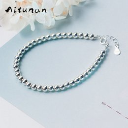 Wholesale 14k Gold Beads 4mm - Aitunan Simple Fashion 925 Sterling Silver Beaded Bracelet 4mm Small Bead Silver Bracelet Wedding Jewelry Gift For Women