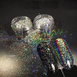 Wholesale Glitter Powder For Nails - NEW 2pcs 0.2g Chameleon Holographic Nail Art Powder Unicorn Magic Mirror Chrome Glitter Powder for nail tips Decoration