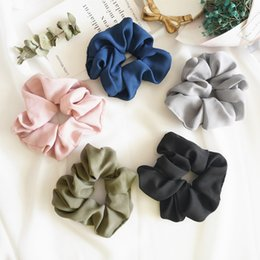 Wholesale elastic pony tail holders - 5PCS Women Girls Pure Color Cloth Elastic Ring Hair Ties Accessories Ponytail Holder Hairbands Rubber Band Scrunchies