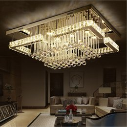 Wholesale New K9 Crystal Chandelier - NEW modern luxury Pandant light rectangular LED K9 crysal chandelier ceiling mounted crystal fixutres foyer chandeliers for living room