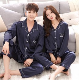Wholesale Two Piece Sleepwear Women - 2017 Autumn New Arrival Women Satin Pajama Sets Long Sleeve Sleepwear Set Two-pieces Big Size V-neck Breathable Pyjamas 4 colors