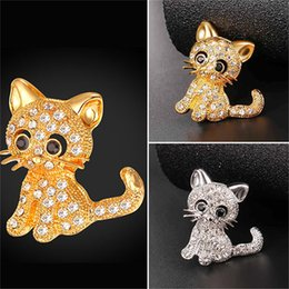Wholesale Shirts Rhinestones For Women - Cute Cat Brooches Pin for Women Men Suit Shirt 18K Real Gold Plated Brooch with Austrian Rhinestone