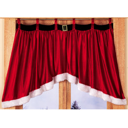 Wholesale Curtain Cloths - Newest Christmas Style Window Decorative Curtain Red lovely Window Curtain For Xmas Decoration Christmas Decoration Supplies in stock