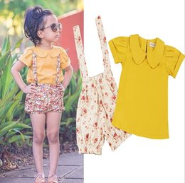 Wholesale Girls Shirts Suspenders - Wholesale Girls Childrens Clothing Sets Short Sleeve Shirts Floral Suspender Shorts Pants 2pcs Set Summer Cotton Girl Kids Clothes Outfits